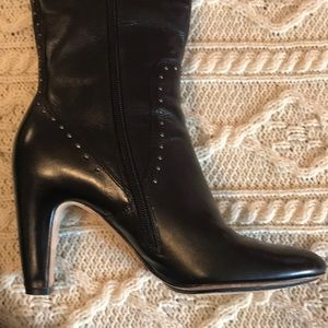 Cole Haan Nike Air Black heeled riveted boots 8B